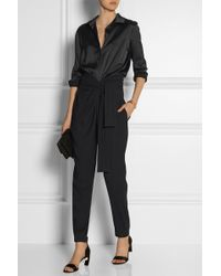 Jay Ahr - Satin And Stretch-crepe Jumpsuit - Lyst