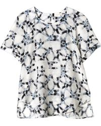 Rebecca Taylor Short Sleeve Geo Print Top - Lyst