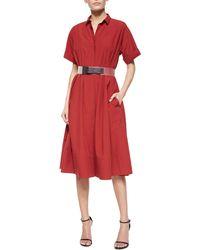 Donna Karan New York Rolled-Cuff Belted Shirtdress - Lyst