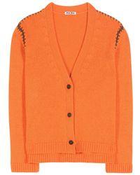 Miu Miu Orange Cashmere Cardigan - Lyst