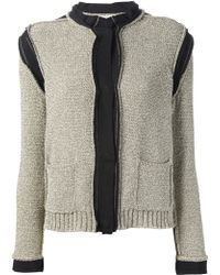 Lanvin Contrast Seam Knitted Jacket - Lyst