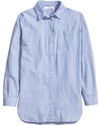 H&M   Long Cotton Shirt   Lyst