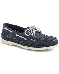 Sperry Top-Sider 'Authentic Original' Perforated Leather Boat Shoe blue - Lyst