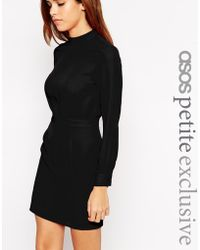 Asos Mini Dress With High Neck black - Lyst