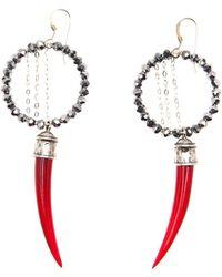 Clemmie Watson - Red Horn Hoop Earring - Lyst
