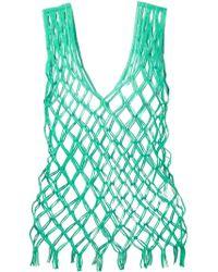 Issey Miyake Fishnet Sleeveless Top green - Lyst