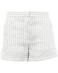 Band of Outsiders Striped Linen-Blend Shorts - Lyst