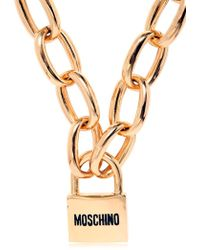 Moschino - Long Necklace With Logo Padlock - Lyst