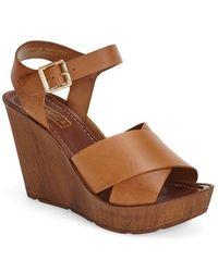 Topshop 'Worldie' Wedge Sandal brown - Lyst
