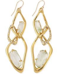Alexis Bittar Infinity Link Earrings with Aqua Green Crackle Glass - Lyst
