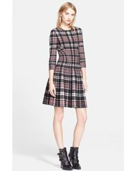 Alexander McQueen Full Circle Skirt Plaid Dress red - Lyst