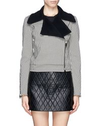 Stella McCartney Gingham Check Biker Jacket - Lyst