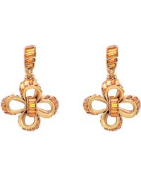 Oscar de la Renta Gold Tone and Swarovski Crystal Dangling Bow Earrings - Lyst