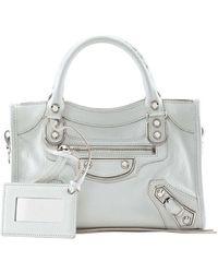 Balenciaga Metallic Edge Mini City Bag white - Lyst