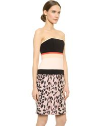 J. Mendel Multicolor Strapless Dress - Kitten Pink/Noir - Lyst