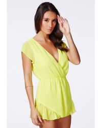 Missguided Yellow Wrapover Frill Playsuit - Lyst