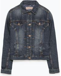 Zara Linen-Cotton Denim Jacket blue - Lyst