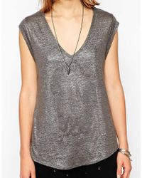Zadig & Voltaire Zadig and Voltaire Tank Top with Metal Skull and Foil Detail - Lyst