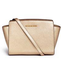 Michael Kors 'Selma' Medium Saffiano Leather Messenger Bag gold - Lyst