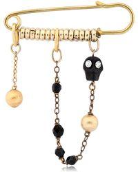 Maria Zureta - Black Skull Bronze Safety Pin - Lyst