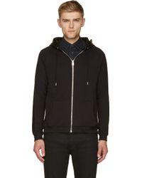 Saint Laurent Black Zip_up Leather Trim Hoodie - Lyst
