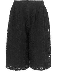 Edit - Black Floral Lace Culottes - Lyst