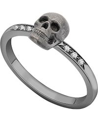 Theo Fennell - 18ct White-gold And Diamond Skull Motif Stacking Ring - For Women - Lyst