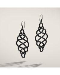 John Hardy Large Braided Drop Earrings On French Wire with Black Ruthenium Plating - Lyst