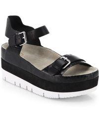 Ash Vera Croc-Embossed Leather Flatform Sandals - Lyst