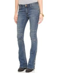 Free People Seamed Denim Flare Jeans  Crate Blue - Lyst