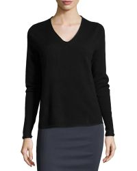 Nicole Miller V-Neck Cashmere Sweater - Lyst