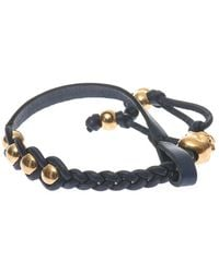 Alexander McQueen Plaited Leather Skull Bracelet - Lyst