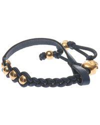 Alexander McQueen Plaited Leather Skull Bracelet - Lyst