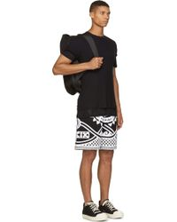 KTZ - Black And White Embroidered Terrycloth Greek Motif Shorts - Lyst