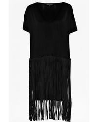 French Connection Spotlight Fringe V-Neck Dress - Lyst