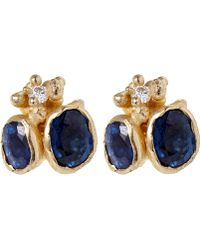 Ruth Tomlinson - Gold Sapphire and Diamond Stud Earrings - Lyst
