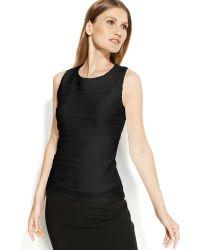 Calvin Klein Sleeveless Ribbed Textured Top - Lyst