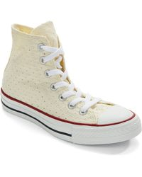 Converse Perforated Hi Top Sneakers beige - Lyst