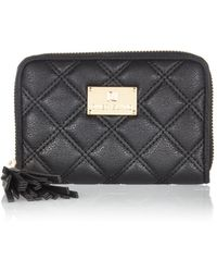 River Island Black Quilted Zip Around Mini Purse - Lyst