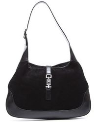 Gucci Preowned Black Suede Jackie Medium Hobo Bag - Lyst