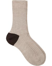 Maria La Rosa Beige Twotone Socks - Lyst