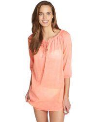 Vix Peach Cotton Tie Neck Tunic Coverup - Lyst