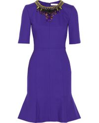 Matthew Williamson Embellished Doublefaced Woolblend Crepe Dress - Lyst