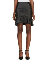 McQ by Alexander McQueen Black Leather Volant Skirt - Lyst