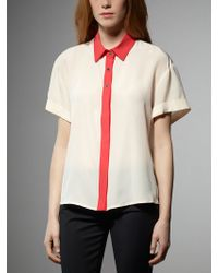 Patrizia Pepe Short Sleeve Shirt In Silk With Contrasting Hem And Collar - Lyst