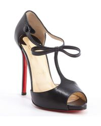 Christian Louboutin Black Leather Belly Nodo 120 Strappy Peep Toe Pumps - Lyst