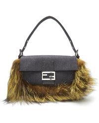 Fendi Denim Baguette Shoulder Bag - Lyst