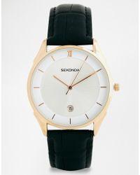 Sekonda Gold Detail Black Leather Strap Watch 1004 - Lyst