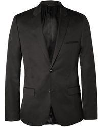 Calvin Klein Black Crosby Slim-Fit Cotton And Silk-Blend Suit Jacket - Lyst