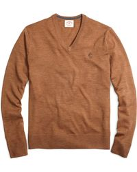 Brooks Brothers Merino Wool Vneck Sweater - Lyst